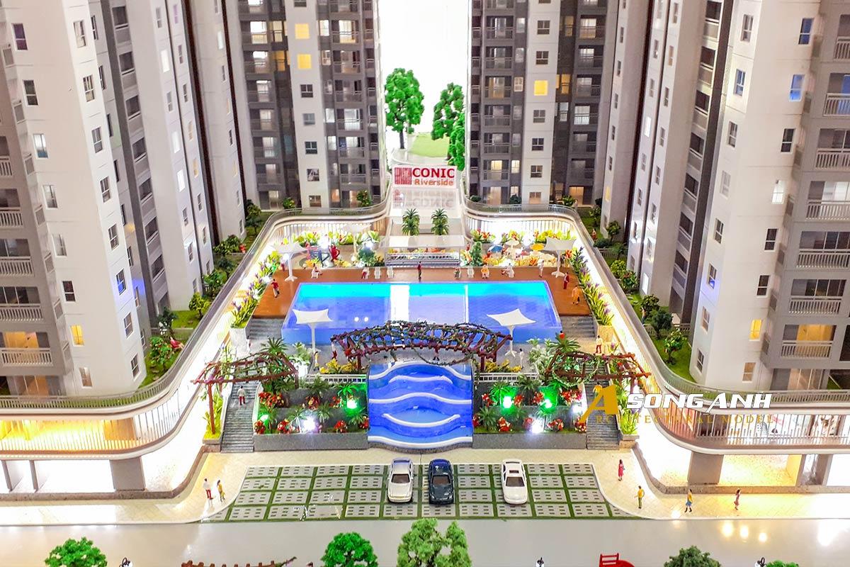 mô hình chung cư Conic Riverside